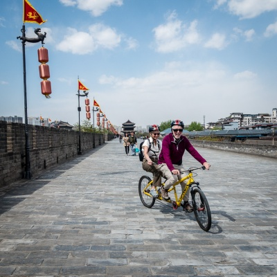 Cycling on top of Xi'an City Wall