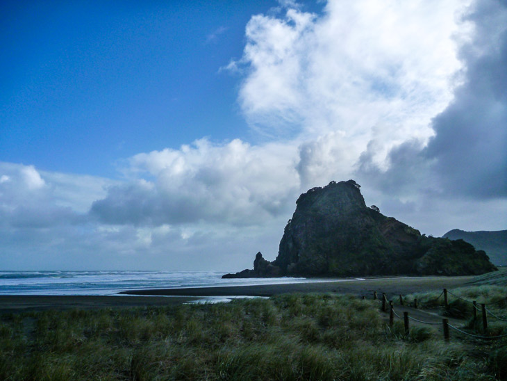 No, it's not a volcano -- just a cloud passing over New Zealands rugged west coast