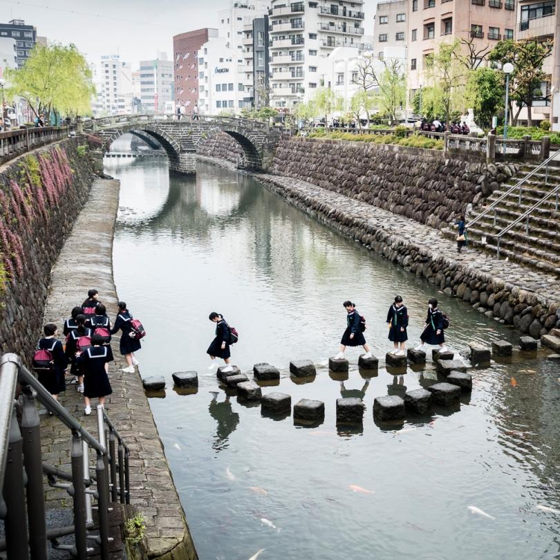 Nagasaki school girls near Spectacle Bridge