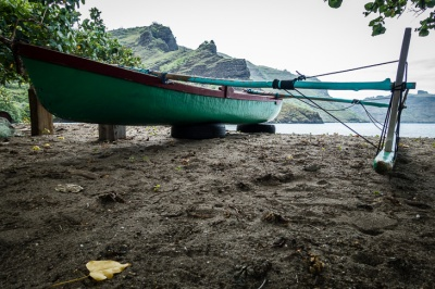 Fisherman's outrigger waiting to work