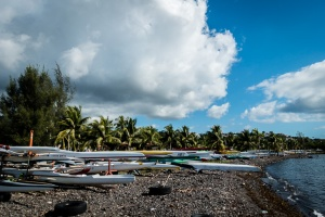 Hundreds of outriggers line the Promenade in Papeete