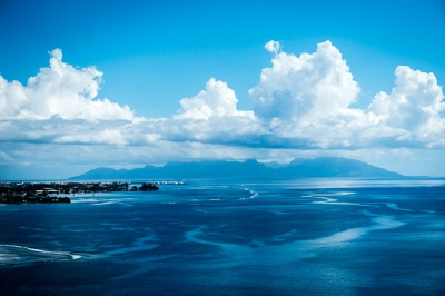 Moorea island visible from Papeete